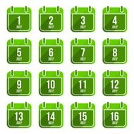 July vector flat calendar icons Days Of Year Set 19