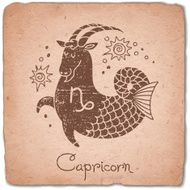 Capricorn zodiac sign horoscope vintage card