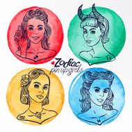 set of four zodiac signs 3