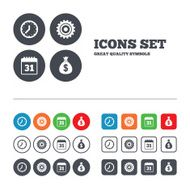 Business signs Calendar and USD money bag icons N17