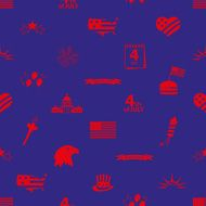 american independence day celebration icons seamless pattern eps10 N2