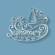 Vector Name of Season the Year Hello Summer Inscription