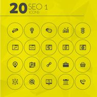 Simple thin SEO 1 icons collection
