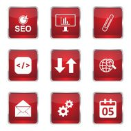 SEO Internet Sign Square Vector Red Icon Design Set 6 N12