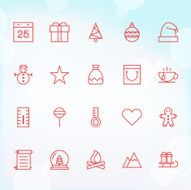 20 Trendy Thin Icons for web and mobile Christmas 2