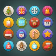 Round Bright Icons with Long Shadow Christmas