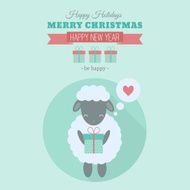 New Year card with sheep in flat N2