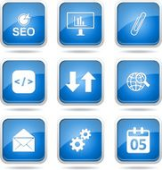 SEO Internet Sign Square Vector Blue Icon Design Set 6 N12