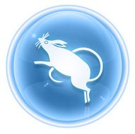 Rat Zodiac icon ice isolated on white background