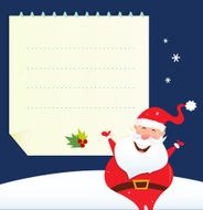 Christmas Santa with blank note banner