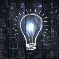 Light bulb with drawing business success strategy N2