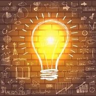 Light bulb with drawing business success strategy N3