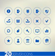 Thin simple server blue icons on light background