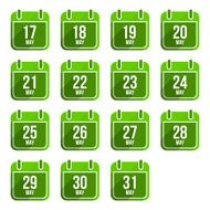 May vector flat calendar icons Days Of Year Set 16