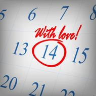 """With love"" text written on calendar page Valentines day greeti"