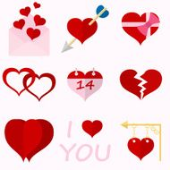 Set icons of Valentine's day red hearts signs N2