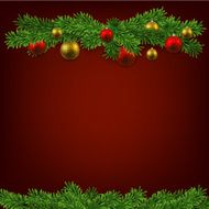 Christmas background with fir branches and balls N14