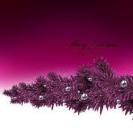 Background with fir branches and metallic balls