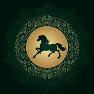 Horse silhouette on vintage floral background N8