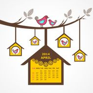 Calendar of April 2014 with birds sit on branch