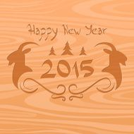 new year 2015 wood texture text goat logo