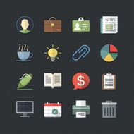 Business & Office icons set with Flat color style