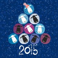 2015 new year card with Christmas tree of cute sheeps N2