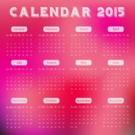 Modern calendar 2015 in red blur background style Vector illustration