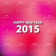 Modern calendar 2015 in red blur background style Vector illustration N2