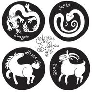 Black and white set signs of the Chinese zodiac N3