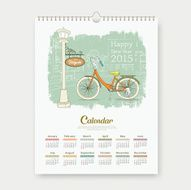 Calendar 2015 happy new year enjoy bicycle design sketching landscape