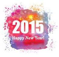 Happy New Year 2015 Creative greeting card with watercolor effect N2