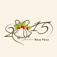 Happy New Year greeting with stylish text and jingle bells