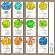 Colorful ethnic calendar 2015 year N2