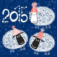 2015 new year card with cheerful sheeps N2