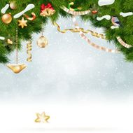 Christmas background with fir and gold balls N2