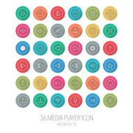 Media player buttons collection with logn shadow