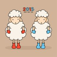Colorful sheep in boots Happy new year 2015 Greeting card