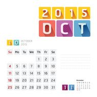2015 Calendar Vector Design October N3