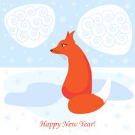 new year vector background with ginger fox