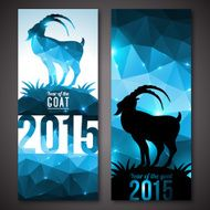 Banners set with geometric pattern goat