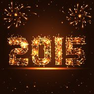 Happy New Year - 2015 golden fireworks numbers