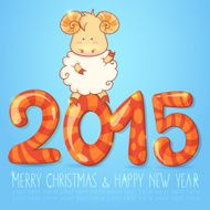 Winter chinese new year card with cartoon sheep N3