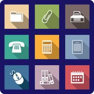 Set of flat office icons N2