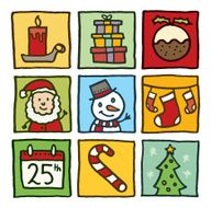 Christmas block doodle icons