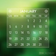 Trendy Abstract Blurry 2014 Hipster Calendar N9