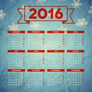 Calendar 2016 template design with header picture starts monday N128