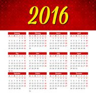 Calendar 2016 template design with header picture starts monday N129