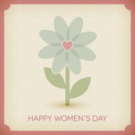 Happy women's day Background paper card with flower