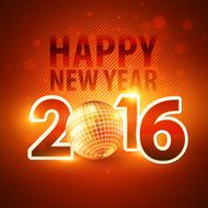Happy New Year 2016 colorful disco lights background Vector illustration